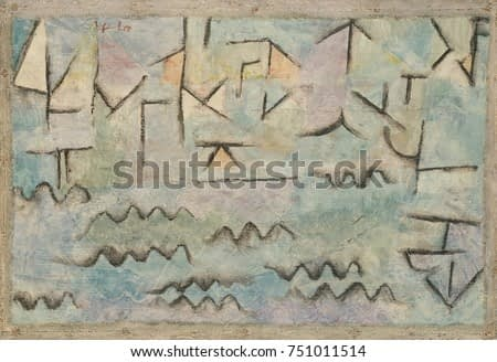 THE RHINE AT DUISBURG, by Paul Klee, 1937, Swiss painting, oil and charcoal on cardboard. Abstract cityscape with river, painted with childlike symbols for waves on the water and the linear geometry o