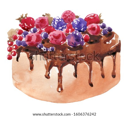 Watercolor berry chocolate cake on  a white background