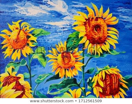 Original artwork. Oil painting with sunflowers. Modern art.