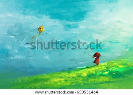 digital painting of girl running in the field with yellow kite, acrylic sketched on canvas texture, story telling illustration