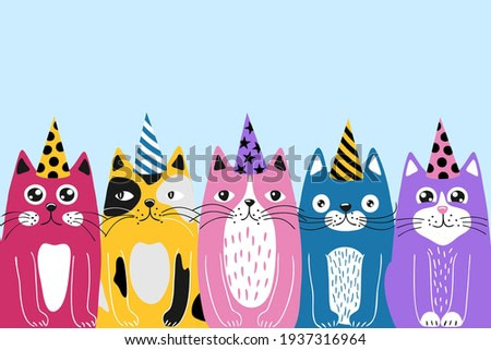 holiday greeting card with funny cartoon cats