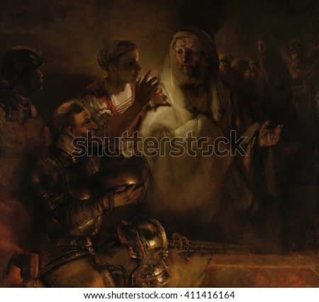 The Denial of St. Peter, by Rembrandt van Rijn, 1660, Dutch painting, oil on canvas. Countering the accusation of the maid of Caiaphas, Peter denies he is a disciple of Jesus, who has been arrested a
