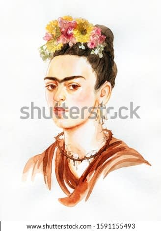 Frida. mexican woman with a traditional hairstyle. illustration. watercolor painting