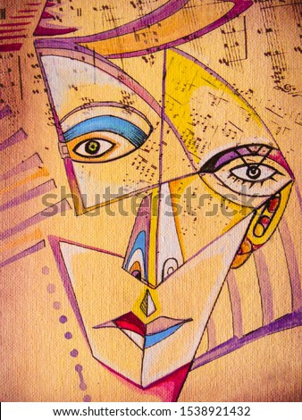 Girl portrait lovely elegant woman. Cubism illustration