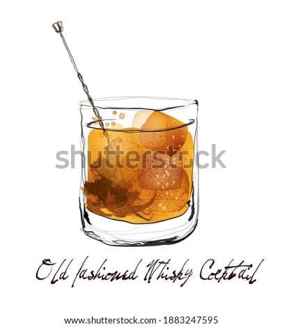 Old fashioned whisky cocktail in watercolor style - vector illustration