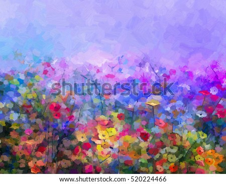 Abstract colorful oil painting purple cosmos flower, daisy, wildflower in field. Yellow and red wildflowers at meadow with blue sky. Spring, summer season nature background.