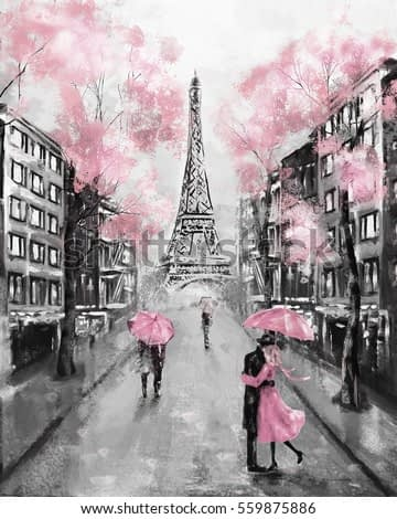 Oil Painting, Paris. european city landscape. France, Wallpaper, eiffel tower. Black, white and pink, Modern art. Couple under an umbrella on street