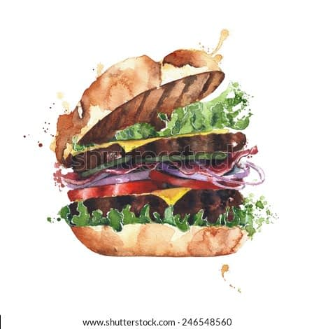 Hamburger watercolor isolated on white background