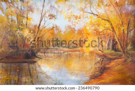 oil painting, landscape, lake, autumn, yellow leaves, autumn landscape