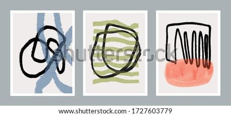 Set of three creative minimalist hand painted illustration for wall decoration, postcard or brochure design. Vector EPS10.