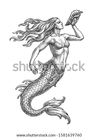 Hand drawn  illustration in the engraving style, mermaid with a seashell, fantastic medieval sea cteature.