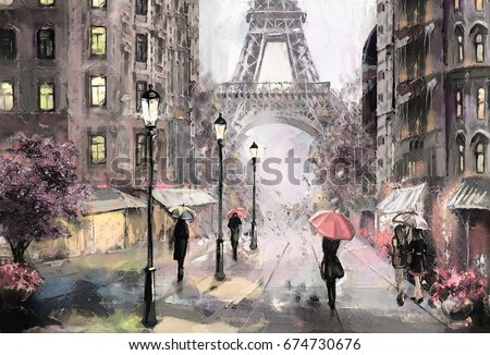 oil painting on canvas, street view of Paris. Artwork. eiffel tower . people under a pink umbrella. Tree. France