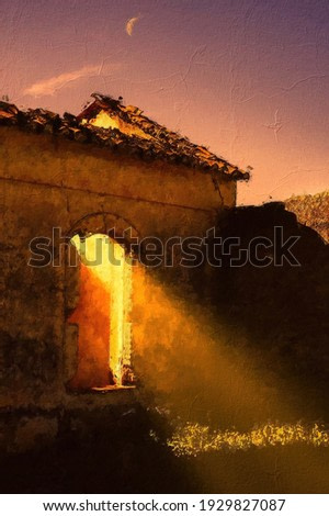 Oil painting of golden hour sunlight  shining through an derelict  buildings doorway in Spain