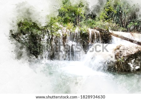 Abstract colorful waterfall in forest on watercolor illustration painting background.