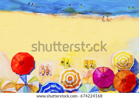 Painting watercolor seascape Top view colorful of lovers,family summer holiday and tourism in multi colored umbrella, sea wave white blue background. Painted Impressionist, abstract image illustration