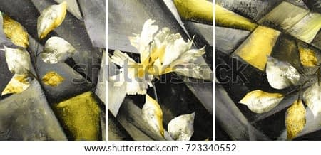 Hand drawn oil painting - stylized triptych with flower, leaves. Abstract art illustration on canvas. texture. In Interior Modern, Contemporary art yellow