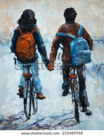 young men and women leaving , oil Painting, ride bikes