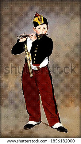 Young Flautist - Edouard Manet. Redrawing with pixel art style.