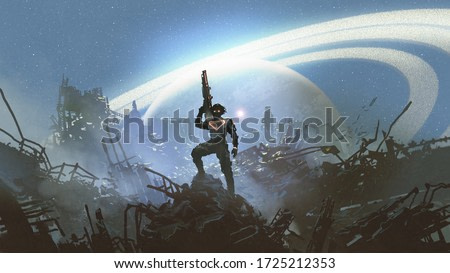 futuristic soldier standing on city ruins against the glowing planet, digital art style, illustration painting
