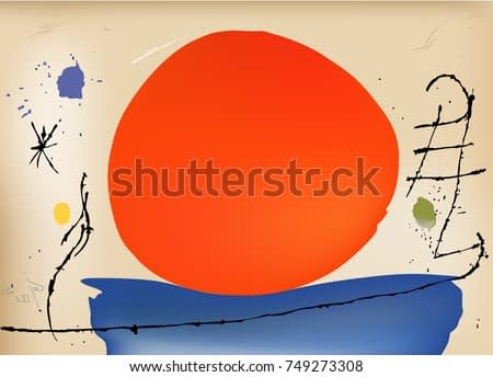 Red and Blue vector design composition. Spanish painter Miro inspired painting