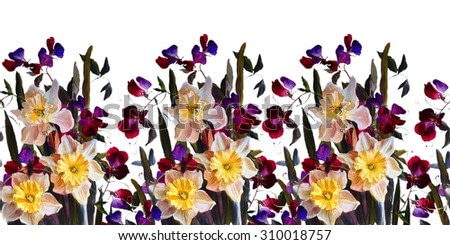 Vintage floral horizontal border. Daffodils and sweet peas on a white background.Seamless frame . Watercolor painting.