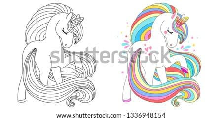 Cute unicorn collection. Monochrome and colored, vector illustration for coloring book, print and poster.