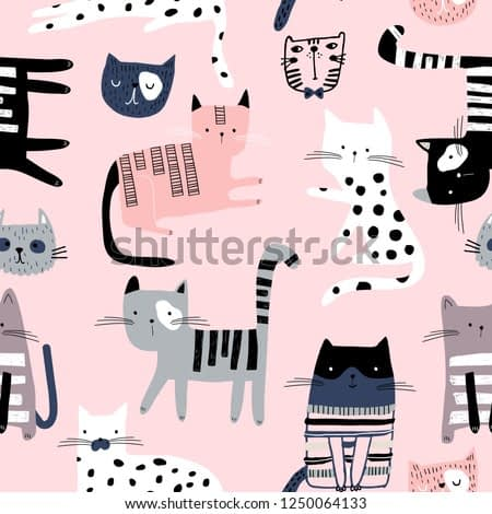 Seamless pattern with cute colorful Kittens. Creative childish pink texture. Great for fabric, textile Vector Illustration