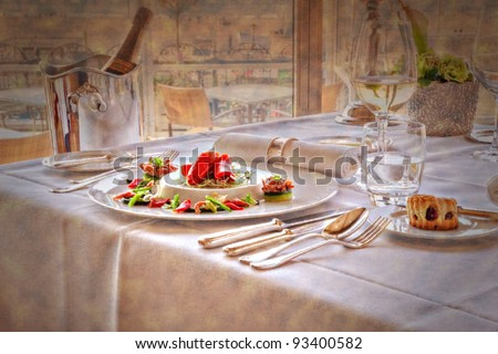 restaurant table  in painting style