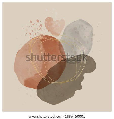 Creative hand painted minimalist  illustration for wall decoration, brochure cover design or  postcard. Vector illustration.