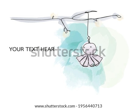 A stylized tree branch decorated with Japanese rain doll (Teru teru bozu). Minimalist. Line drawing with watercolor background and space for text. Cute line art. Minimalism print  vector illustration.