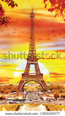 original oil painting of Eiffel tower in Paris, autumn season. Decoration for the interior. Modern abstract art on canvas. collection of painting in designer set. four seasons