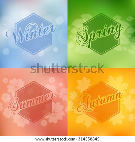 Stylish 4 season cards design with leavs flowers and bokeh effect.