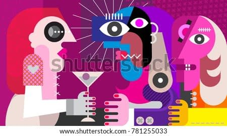 A woman with a cocktail. Three friends drinking cocktail at nightclub party. Modern abstract art vector illustration.