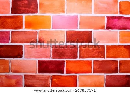 Abstract watercolor - brick wall. Backgrounds & textures shop.