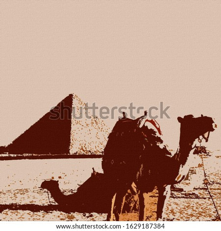 Digital Colorful Illustration Art Prints of Pyramids and Camels Outside of Cairo on Canvas Background Painting in Giza, Egypt