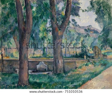 Pool at the Jas de Bouffan, by Paul Cezanne, 1886-89, French Post-Impressionist oil painting. This was painted at the Cezanne family estate near Aix-en-Provence. The pool was for water storage and was
