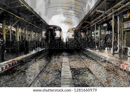 Abstract painting of vintage train, digital painting
