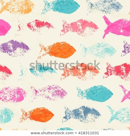 Abstract seamless pattern - bright colorful ink prints with messy fish silhouette.