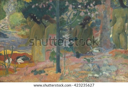 The Bathers, by Paul Gauguin, 1897, French Post-Impressionist painting, oil on canvas. Painted during the artist's second trip to Tahiti, it shows four women near and in water in a pastoral tropical