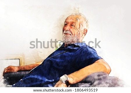 Abstract colorful senior man sitting alone for relaxation and playing game on smart phone in home on watercolor illustration painting background.