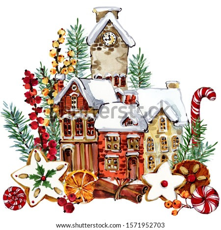 Christmas card. winter holidays watercolor illustration. New Year background in cartoon style.