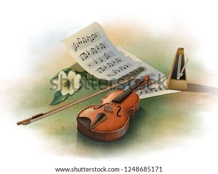 Still life with violin, metronome and music sheets with some random notes (no musical copyright). Digital illustration.