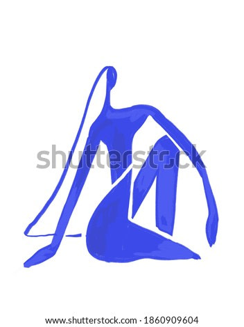 Minimalist Woman Sitting, Paint on Blue. Henry Matisse Vibe art. Contemporary and modern  Fauvism art. For print and poster.