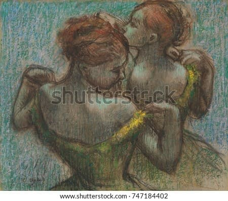 Two Dancers, by Edgar Degas, 1870-95, French impressionist drawing, pastel on paper. Two dancers depicted as they adjust their costume straps