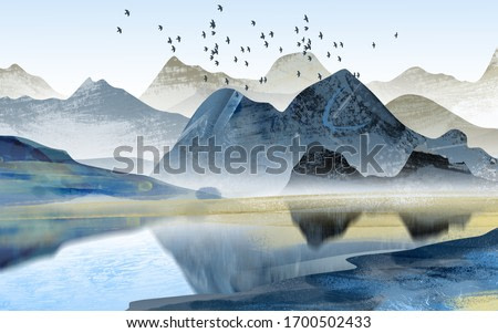 Abstract art decorative background. Mountains and birds. Digital painting art.