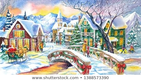 Watercolor Magic Christmas Village with Santa Claus and Christmas Tree