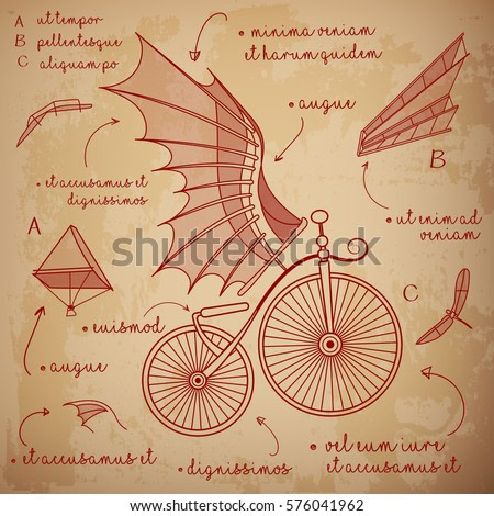 Leonardo da Vinci style sketch. Designs for flying machines. Retro bicycle with da Vinci style wings. Vector illustration.
