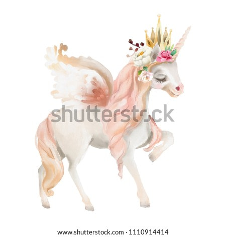 Beautiful, cute, watercolor dreaming unicorn, pegasus with wings and  flowers, golden crown, floral bouquet isolated on white