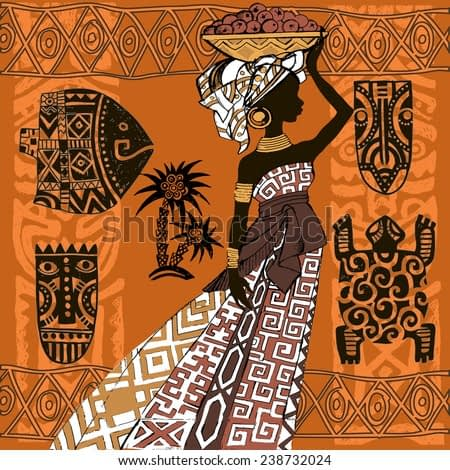 Beautiful black woman.African woman. African Set.African masks and ornaments