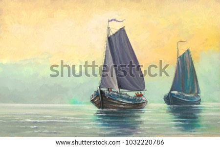 Sea and ships, oil digital paintings landscape, fisherman, boats